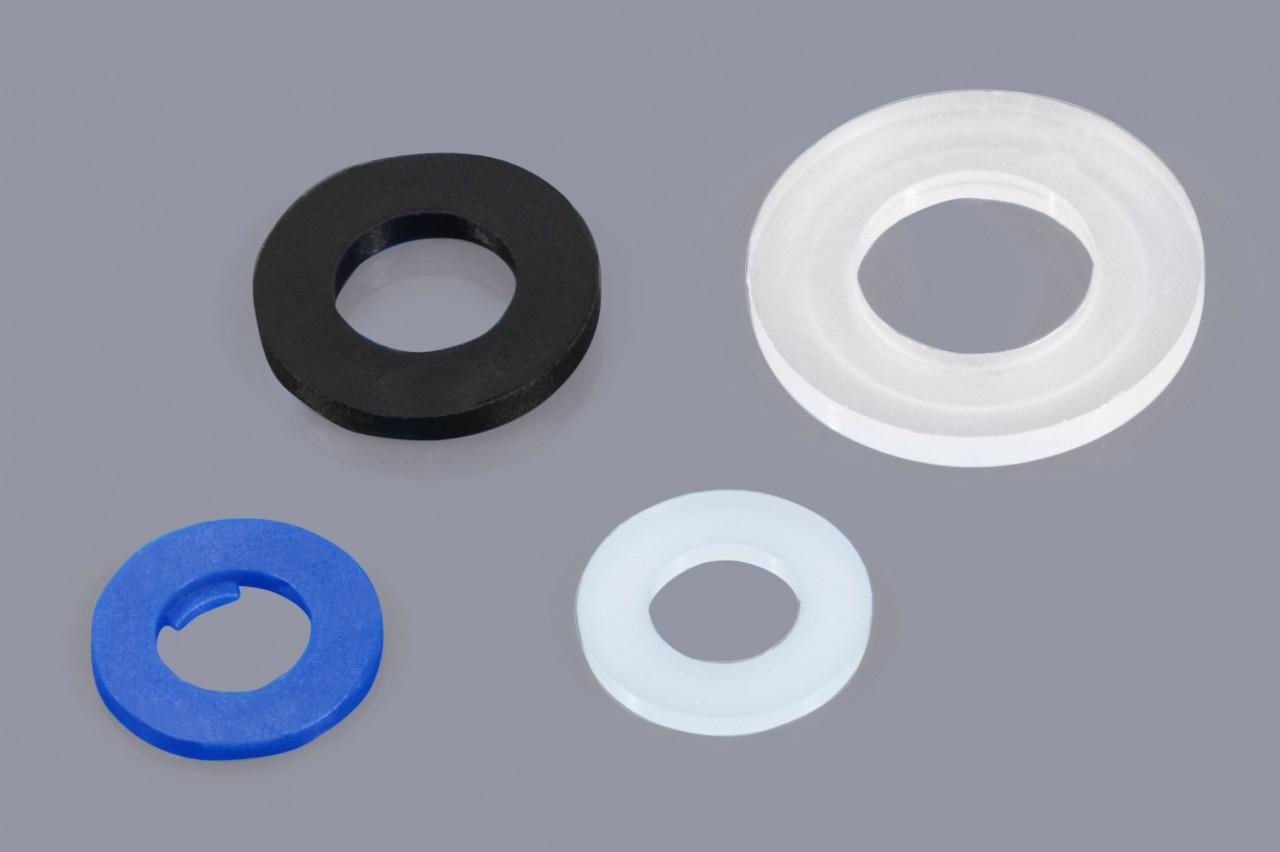 Unterlegscheiben Beilagscheiben PVC weich Kunststoff 4,3 x 9-10,5 x 21 mm weiß