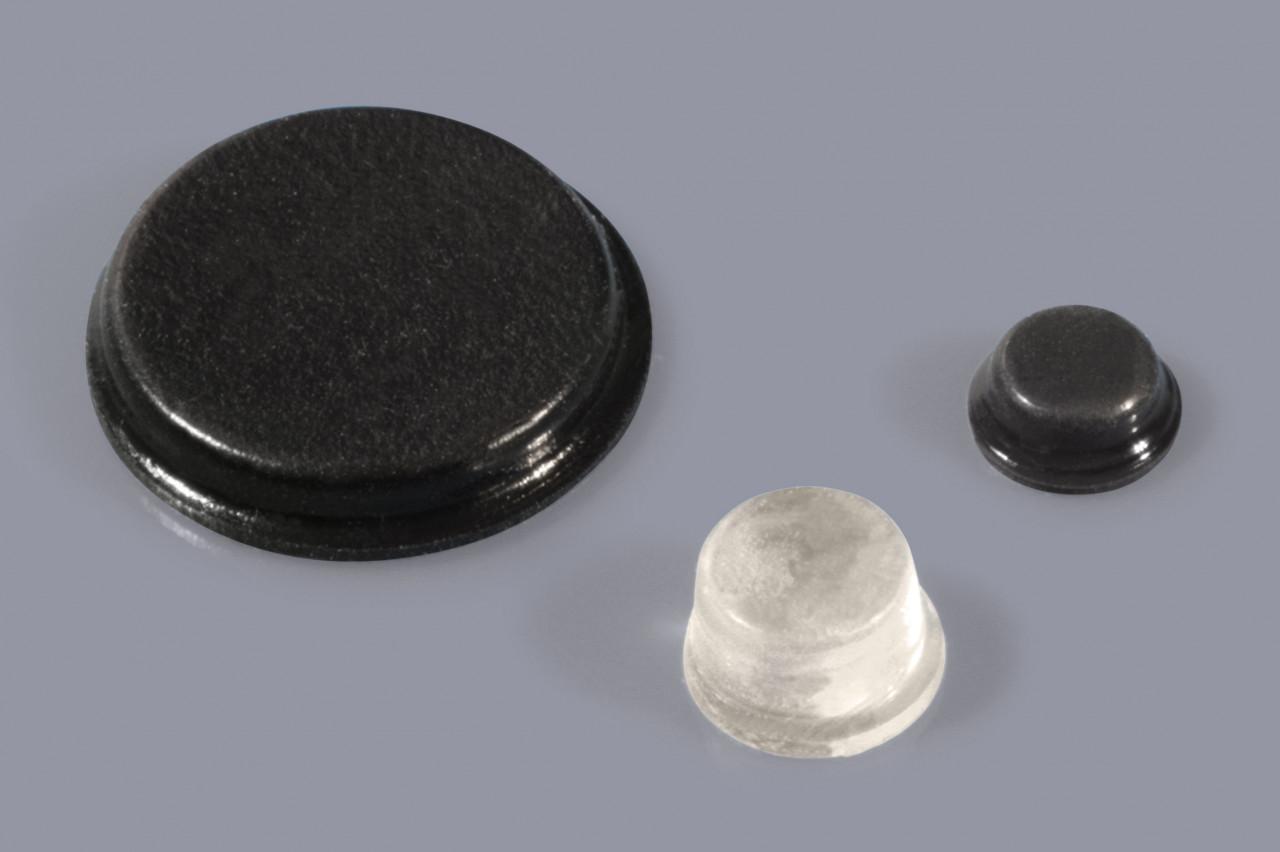 Elastikpuffer zum Kleben / Gehäusefüße mit Klebefolie / Klebefüße rund und plan