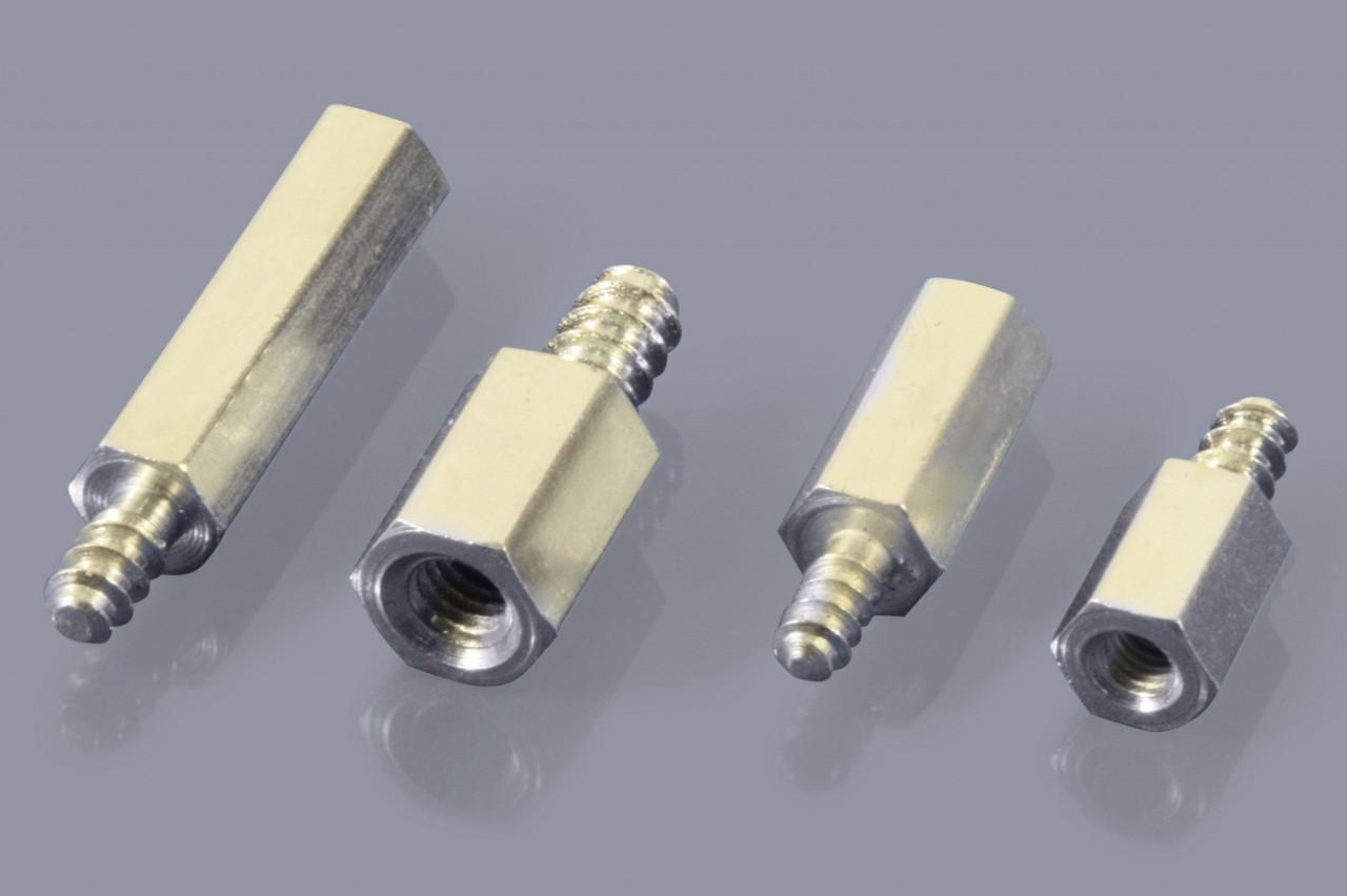 Distanzbolzen / Abstandsbolzen aus Metall mit Außen-/Innen-Gewinde (A/I), selbstschneidend