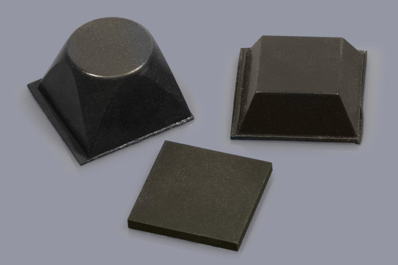Elastikpuffer zum Kleben / Gehäusefüße mit Klebefolie / Klebefüße quadratisch und rechteckig