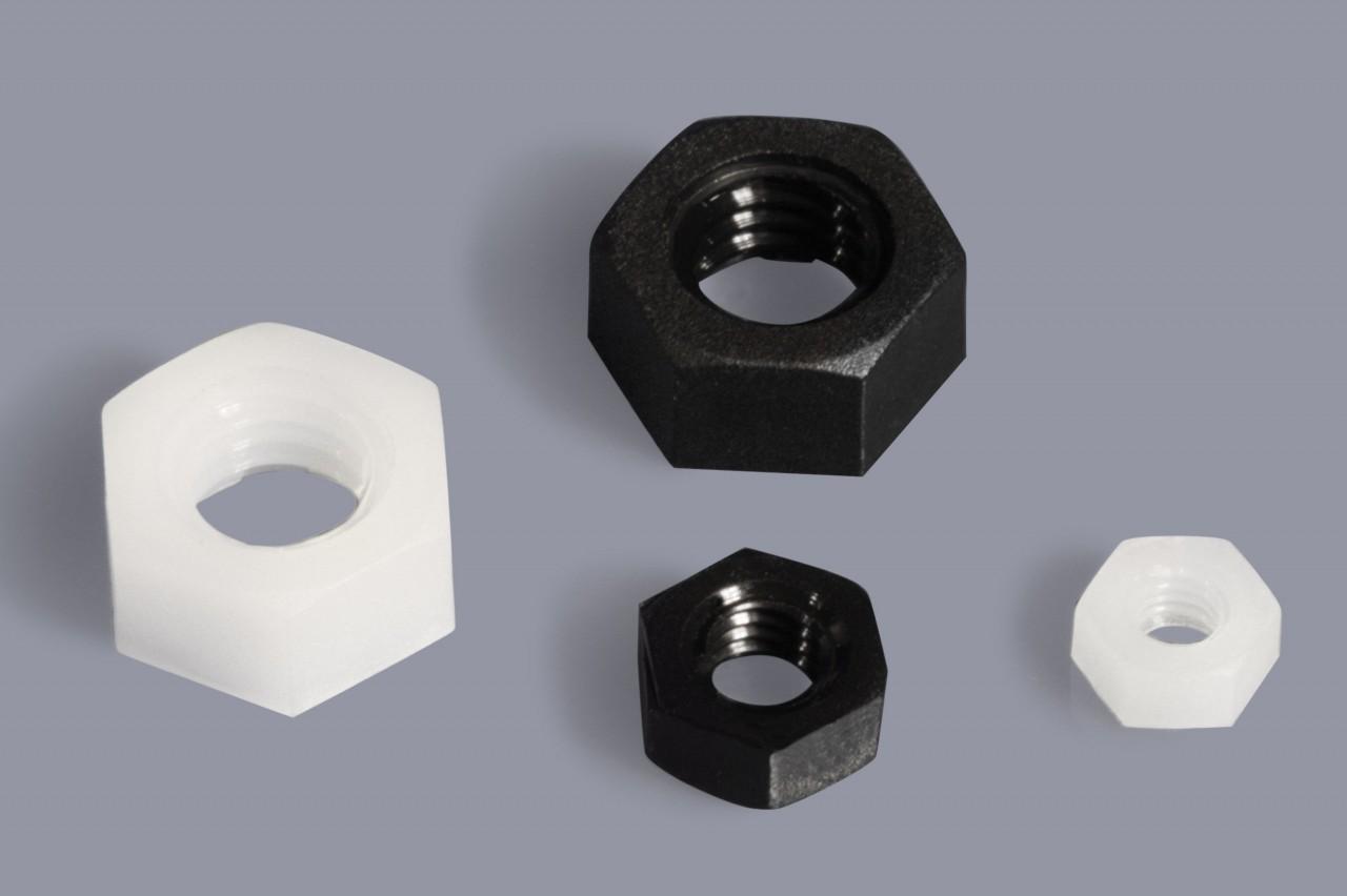 DIN 46320 (ohne Bund) - Kunststoff-Muttern Sechskant flach